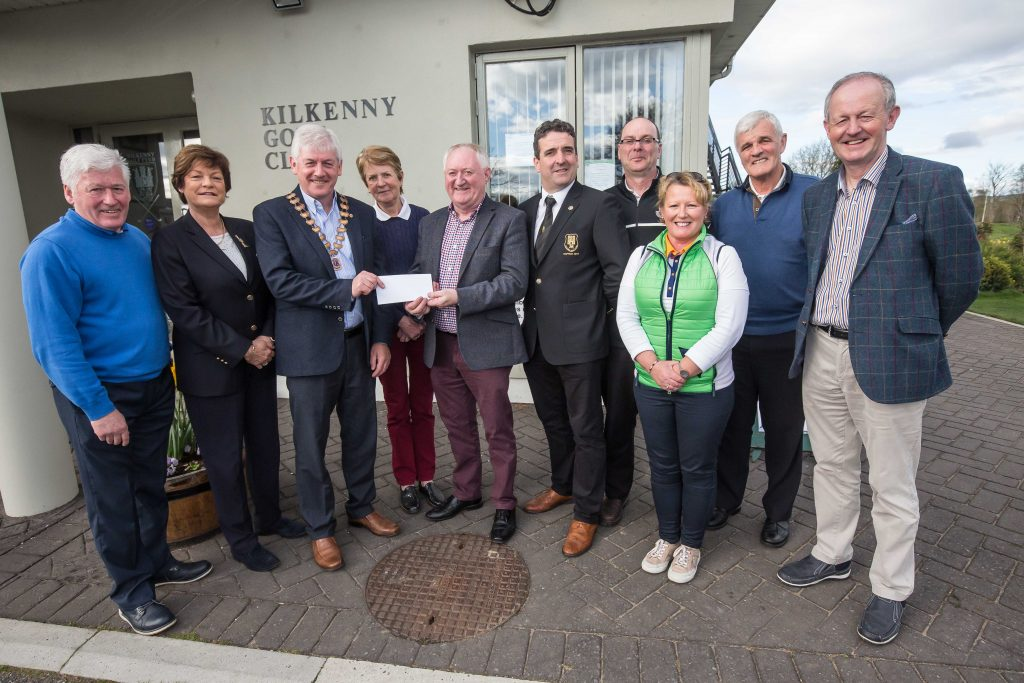 Presentation at Kilkenny Golf Club by Padraig Keegan, President Kilkenny Lions Club, of proceeds of Lions golf classic to Pat McLoughlin ,CEO Alzheimer's Society of Ireland for their Kilkenny Day Care Centre. Left to right ; Philip Tierney Lions, Liz Cleere Ladies Captain, Padraig Keegan, President Kilkenny Lions, Breda Burke Lions, Pat McLoughlin CEO Alzheimers Ireland, Rob O'Shea Mens Captain, Philip O'Neill Lions PRO, Maeve O'Flynn Lions, Rodger Curran Lions, Pat O'Hanlon Lions.